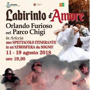 """LABIRINTO D'AMORE - """"Orlando Furioso"""" nel Parco Chigi in Ariccia dall'11 al 19 agosto"""