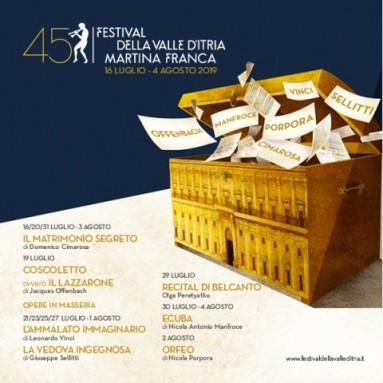 FESTIVAL DELLA VALLE D'ITRIA 2019 - 45a edizione: Martina Franca, 16 luglio – 4 agosto 2019