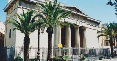 """Il sipario del Teatro """"Selinus"""" dipinto da Gennaro Pardo di David Camporeale"""
