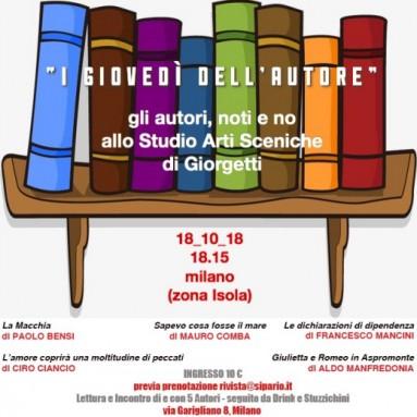 """MILANO:""""I Giovedì dell'Autore"""" allo Studio Arti Sceniche di Sipario - 18 ottobre, ore 18.15"""